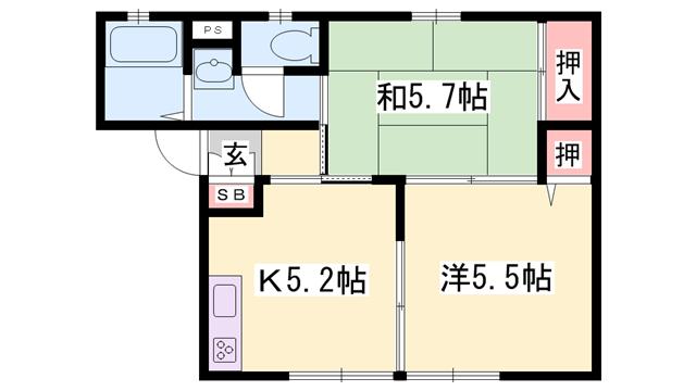 物件番号: 1119411465  姫路市網干区大江島 2K ハイツ 間取り図