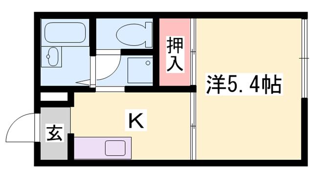 物件番号: 1119411506  姫路市書写 1K ハイツ 間取り図