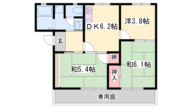物件番号: 1119411686  揖保郡太子町糸井 3DK ハイツ 間取り図