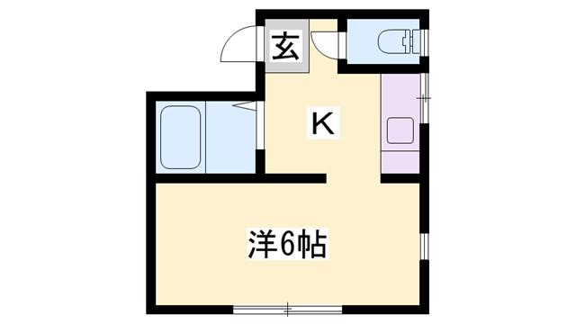 物件番号: 1119414074  姫路市書写 1K ハイツ 間取り図