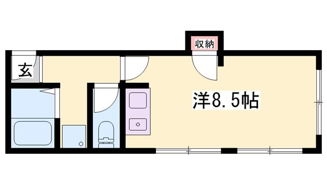 物件番号: 1119416424  姫路市東雲町5丁目 1R マンション 間取り図