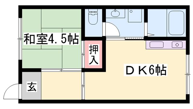 物件番号: 1119416545  姫路市八代緑ケ丘町 1DK ハイツ 間取り図