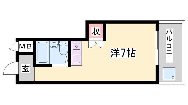 物件番号: 1119416649  姫路市白国5丁目 1R ハイツ 間取り図