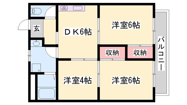 物件番号: 1119416694  姫路市辻井3丁目 3DK ハイツ 間取り図