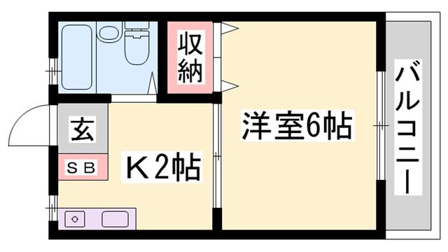 物件番号: 1119416762  姫路市新在家1丁目 1K ハイツ 間取り図