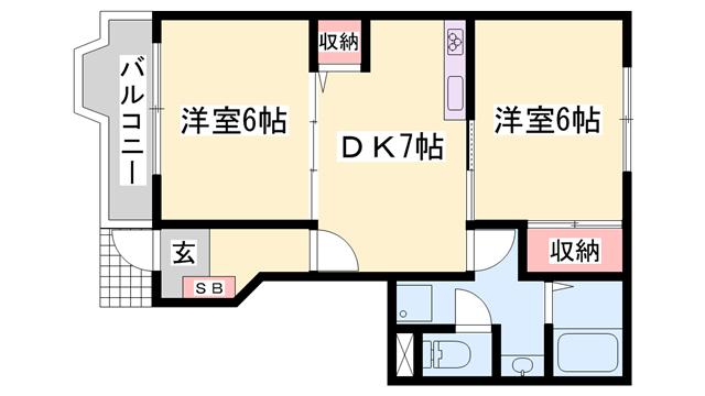 物件番号: 1119417703  姫路市飾磨区今在家7丁目 2DK ハイツ 間取り図