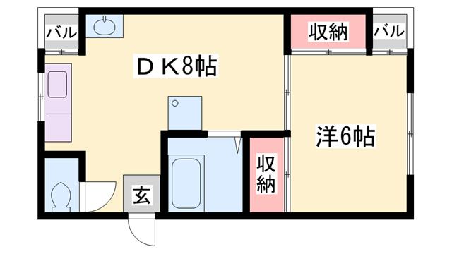 物件番号: 1119418941 石水会館  姫路市南今宿 1DK マンション 間取り図