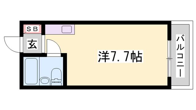 物件番号: 1119419783  姫路市白国1丁目 1R マンション 間取り図