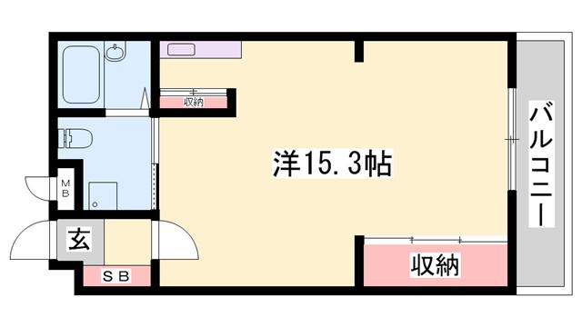 物件番号: 1119420369  姫路市広畑区西夢前台4丁目 1R マンション 間取り図