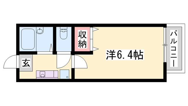 物件番号: 1119421169  姫路市網干区興浜 1K ハイツ 間取り図