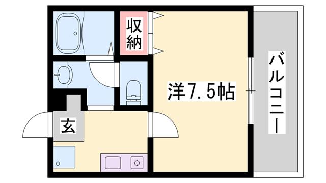 物件番号: 1119424043  姫路市上大野2丁目 1K ハイツ 間取り図
