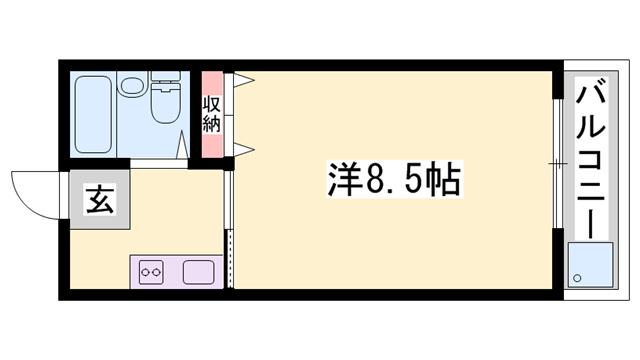 物件番号: 1119424561  姫路市北平野南の町 1K マンション 間取り図