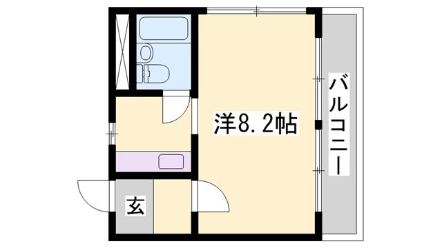 物件番号: 1119424918  姫路市神田町1丁目 1K マンション 間取り図