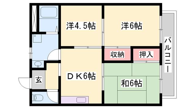物件番号: 1119425207  姫路市辻井8丁目 3DK ハイツ 間取り図