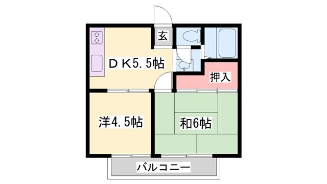 物件番号: 1119426863  姫路市別所町小林 2DK ハイツ 間取り図