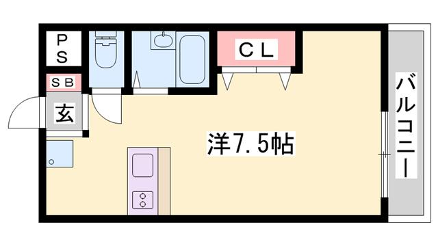 物件番号: 1119427445  神崎郡福崎町西田原 1R マンション 間取り図