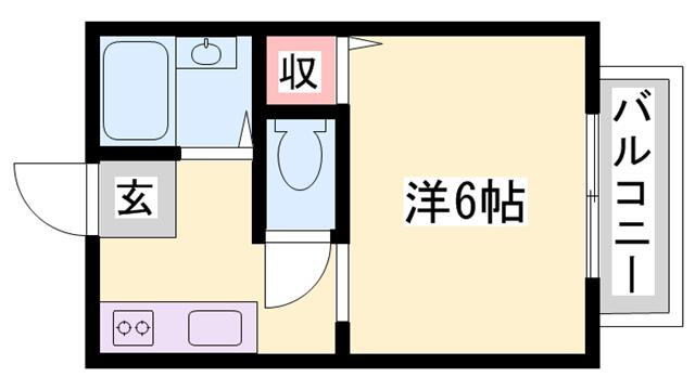 物件番号: 1119427627  姫路市上手野 1K ハイツ 間取り図