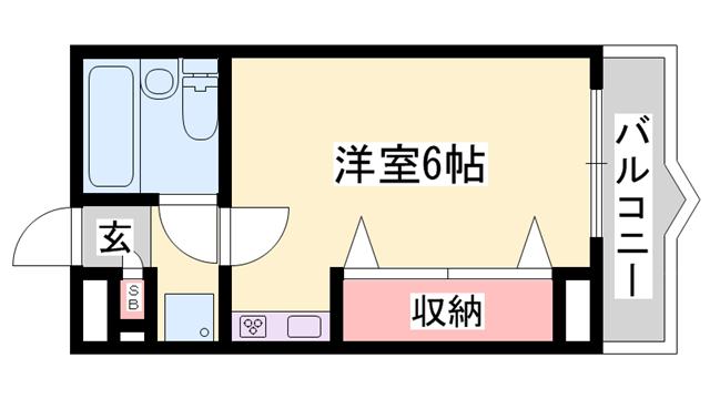 物件番号: 1119428187  姫路市網干区新在家 1R マンション 間取り図