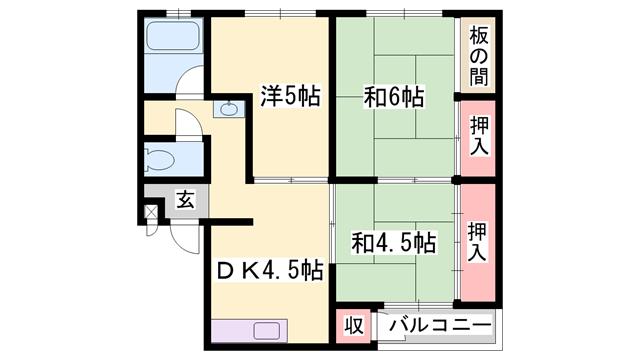 物件番号: 1119433568  姫路市大津区恵美酒町2丁目 3DK マンション 間取り図