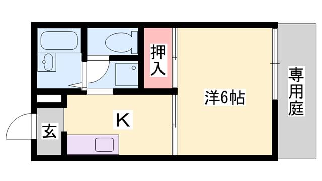 物件番号: 1119433948  姫路市書写 1K ハイツ 間取り図