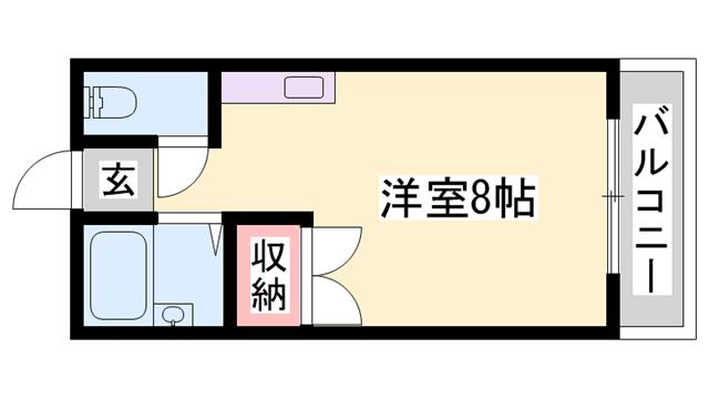 物件番号: 1119433954  姫路市白国4丁目 1R ハイツ 間取り図
