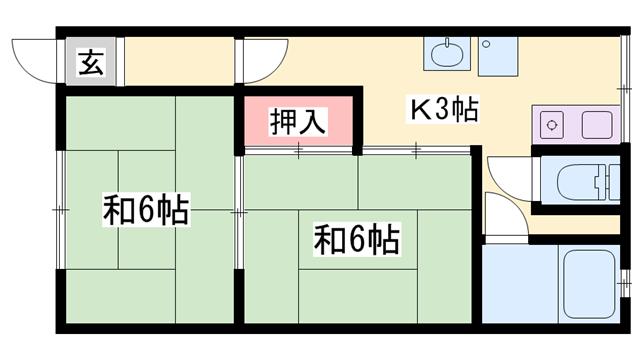 物件番号: 1119435789  姫路市余部区上余部 2K ハイツ 間取り図