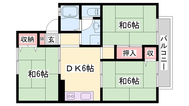 物件番号: 1119435870  姫路市網干区垣内南町 3DK ハイツ 間取り図
