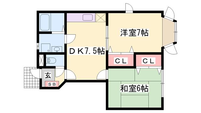 物件番号: 1119436064  姫路市御立東2丁目 2DK ハイツ 間取り図
