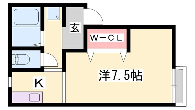 物件番号: 1119437077  姫路市八代 1K ハイツ 間取り図
