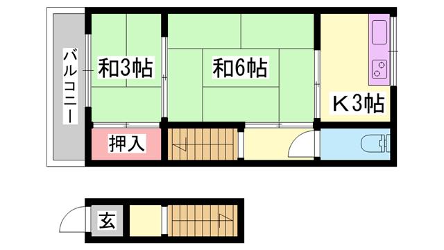 物件番号: 1119437526  姫路市亀山2丁目 2K ハイツ 間取り図