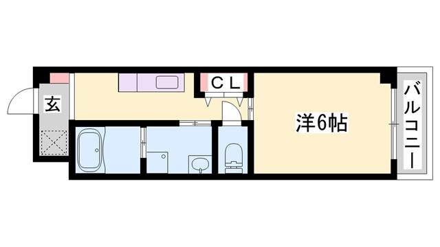 物件番号: 1119439733  姫路市城北新町3丁目 1K マンション 間取り図