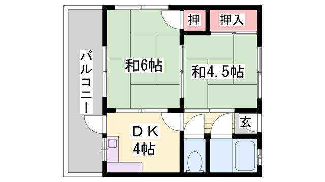 物件番号: 1119440189  姫路市城北新町2丁目 2DK マンション 間取り図