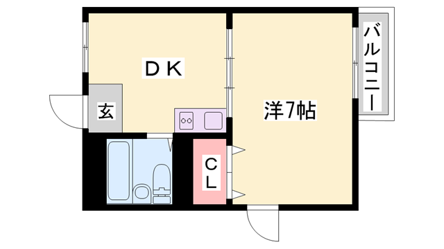 物件番号: 1119441638  加古川市平岡町新在家 1DK マンション 間取り図