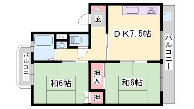 物件番号: 1119445763  たつの市龍野町日山 2DK マンション 間取り図
