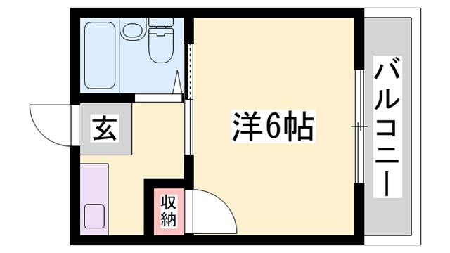 物件番号: 1119445788  姫路市北平野南の町 1K マンション 間取り図