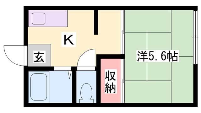 物件番号: 1119446453  姫路市新在家本町3丁目 1K ハイツ 間取り図