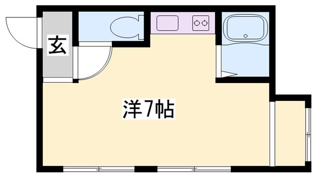 物件番号: 1119446540  姫路市坂元町 1R マンション 間取り図