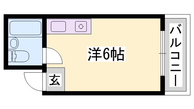物件番号: 1119447320  姫路市南畝町2丁目 1R マンション 間取り図