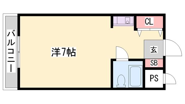 物件番号: 1119447440  加古川市平岡町新在家1丁目 1R マンション 間取り図