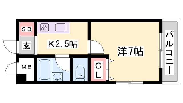 物件番号: 1119448729  姫路市御立東1丁目 1K マンション 間取り図