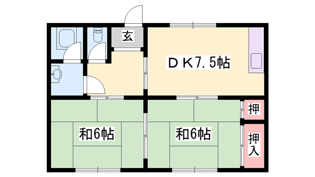 物件番号: 1119448833  姫路市下手野2丁目 2DK マンション 間取り図