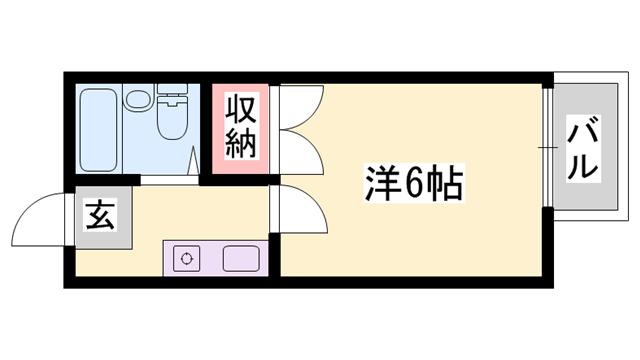 物件番号: 1119448835  姫路市青山5丁目 1K ハイツ 間取り図