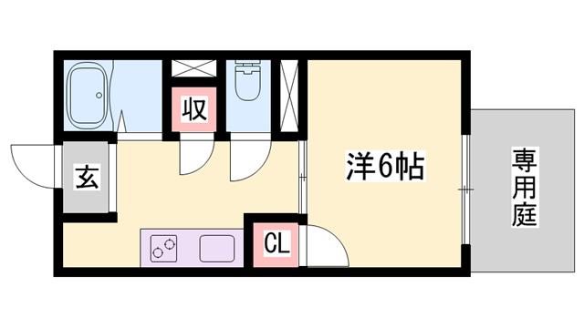 物件番号: 1119448932  姫路市北平野5丁目 1K ハイツ 間取り図