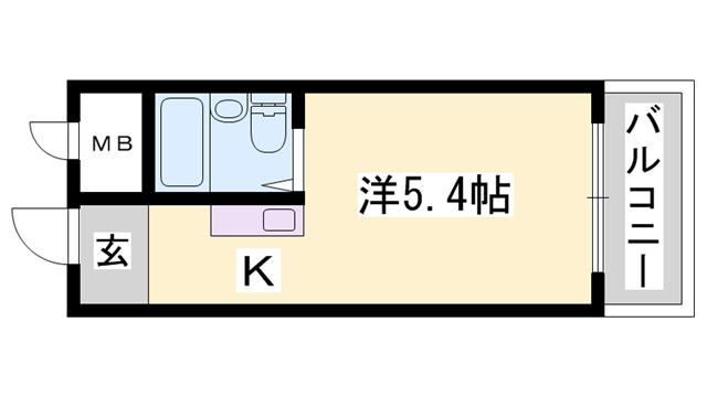 物件番号: 1119449014  姫路市北平野2丁目 1K マンション 間取り図