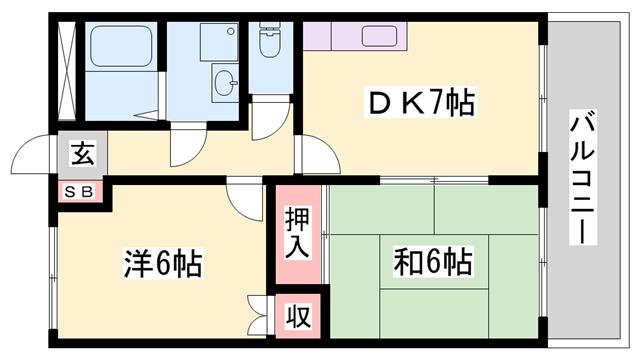 物件番号: 1119449938  姫路市刀出 2DK ハイツ 間取り図