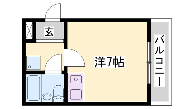 物件番号: 1119449980  姫路市飾磨区三宅1丁目 1R マンション 間取り図