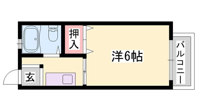 物件番号: 1119450385  姫路市東辻井1丁目 1K ハイツ 間取り図
