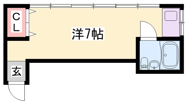 物件番号: 1119451340  姫路市御立西2丁目 1R マンション 間取り図