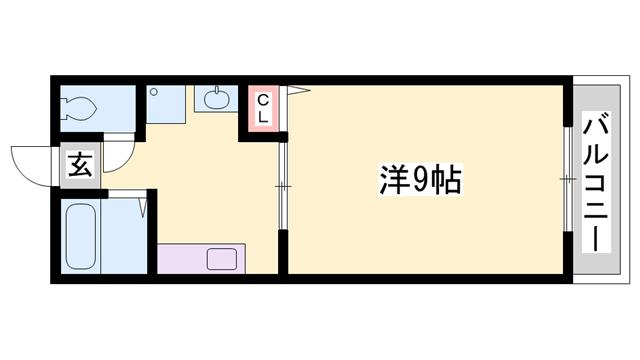 物件番号: 1119451570  姫路市白国4丁目 1K ハイツ 間取り図