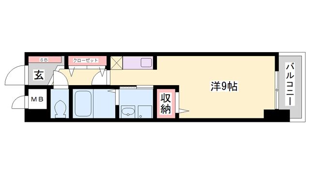 物件番号: 1119452041  姫路市飾磨区今在家3丁目 1K マンション 間取り図